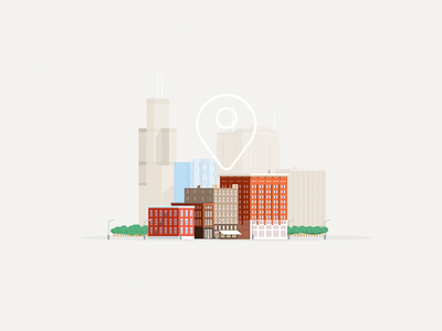 City chicago new york city buildings illustration color pin map