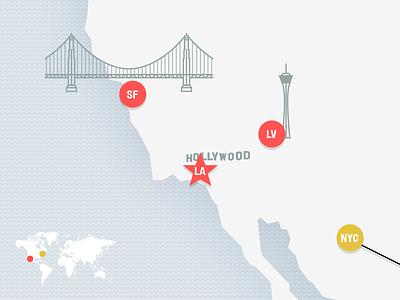 SF-LA-LV-NYC travel bridge la map