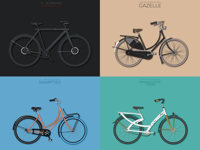 Bysickles of Amsterdam netherlands holand amsterdam bikers bicycle bike illustration
