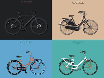 Bysickles of Amsterdam netherlands holand amsterdam bikers bicycle bike illustration