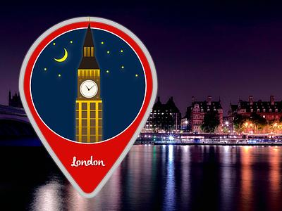 London Icon illustration illustrator icon stars moon clock big ben europe england london