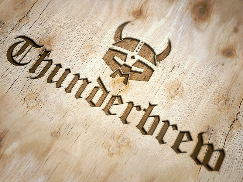 Thunderbrew logo engraved wood beer logo distillery