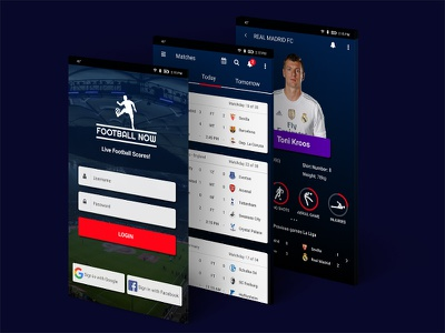 Football App matchday ux sports players games stats soccer mobile ui app real madrid football
