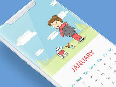 Calendar illustration january flat florida app ui winter dogs illustration calendar