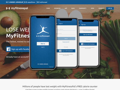 Web + App food healthy fitness mobile app ui redesign website myfitnesspal