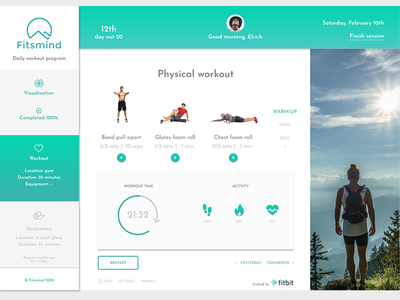 Physical workout clean exercise ui web app app concept workout