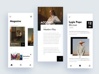 magazine app flat icon ux typography branding fashion design app ui color