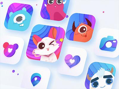 cute logo&icon design cute ui logo color icon app sketch