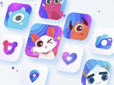 cute logo&icon design cute ui logo color icon app sketch
