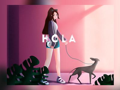 Hola design color illustration