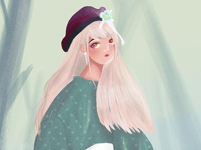 Girl with forest forest girl design color illustration