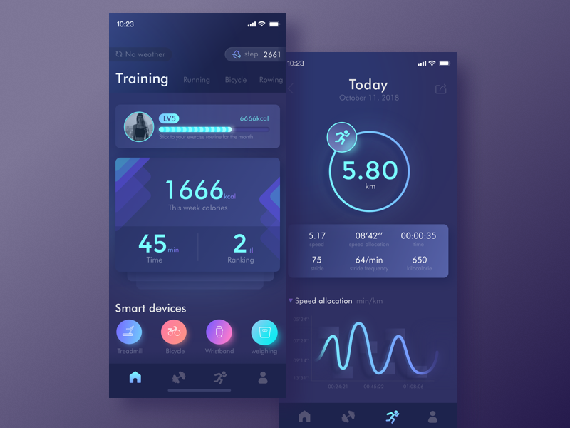 An app about exercise color information record sports exercise app ui
