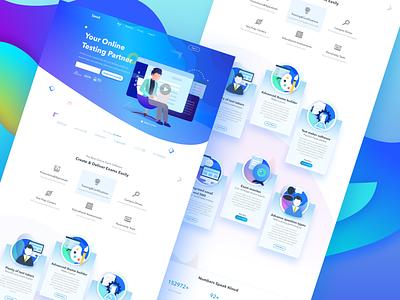 Online Exam Software - Home Page blue color ux ui web software online exam design