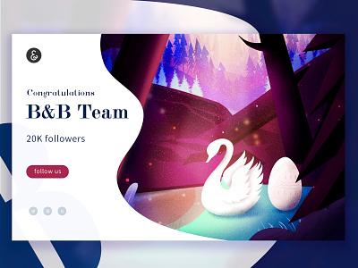 Congratulation 20k fans ui web illustration design