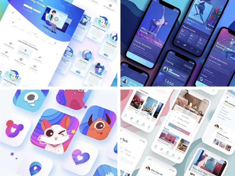 2018 Top4Shots blue logo color illustration app web ui 2018