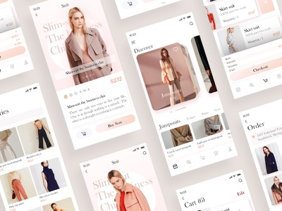 Find the outfit you like 2 ui ux sketch web clean app woman pink senior fashion clothes app design color