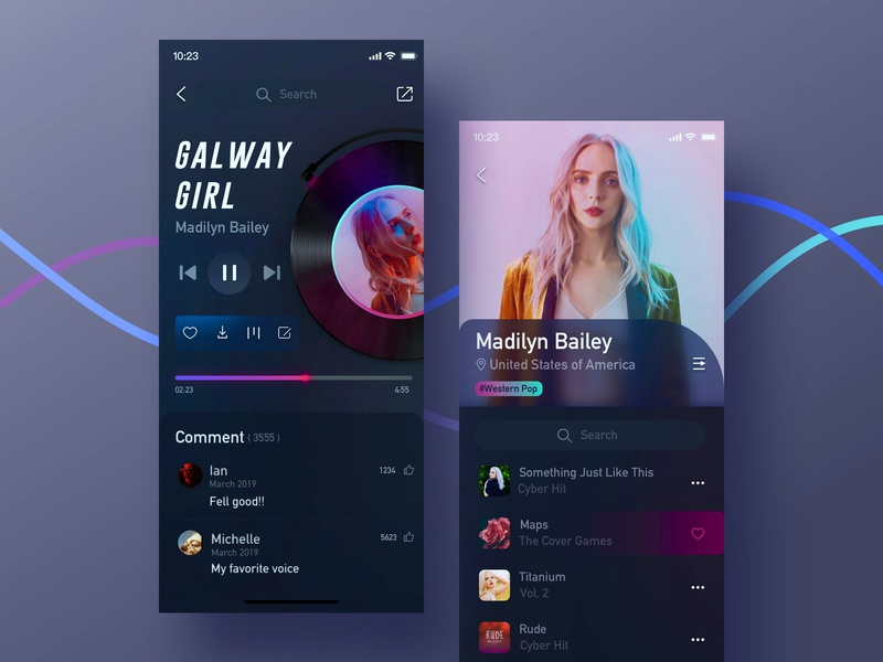 Music Player/ Singer fashion singer player dark blue dark music app music blue app design color ui