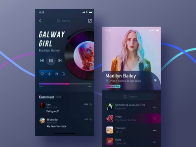Music Player/ Singer fashion singer player dark blue dark music app music blue app design color ui