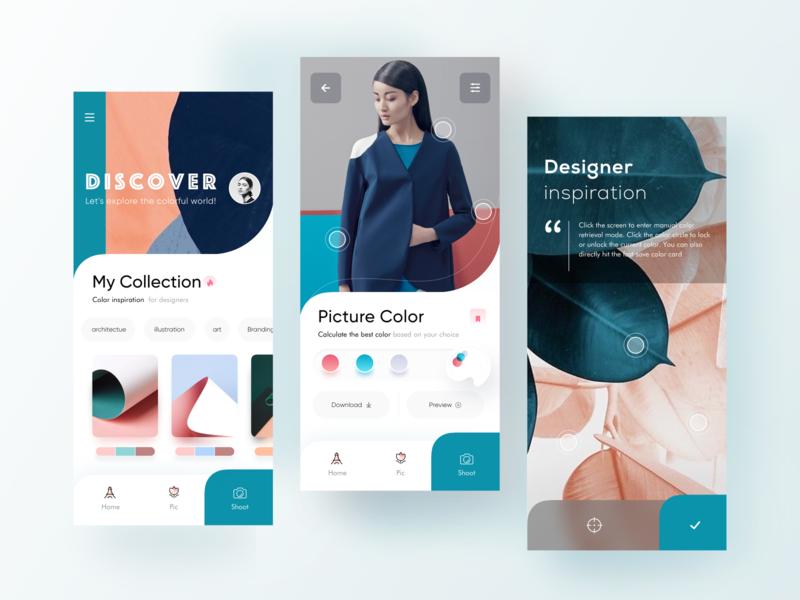 Designer inspiration app blue fashion color photo photography mobile color fashion inspiration app ui