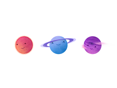 Planets happy icon illustration space planet