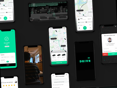 DRIVR ride-sharing app showcase. lyft ride sharing ride share uber drivr mobile mobile design app branding map ui mobile ui design