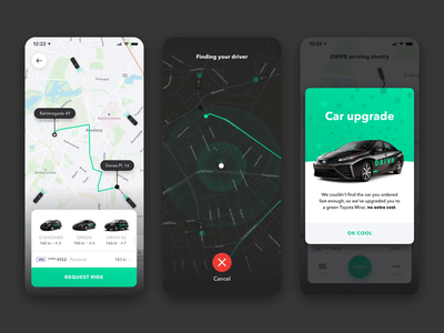 DRIVR ride-sharing mobile app ride share drivr lyft mobile design mobile map ui mobile ui app design