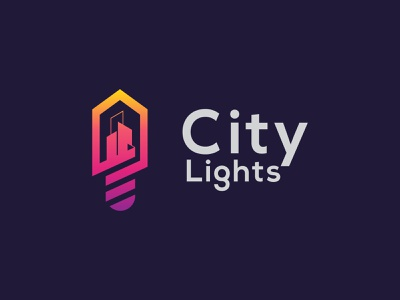 City Lights Logo Concept ( City Buildings + Smart Bulb Icon ). minimalist logo logo graphic design city logo modern logo logo inspiration logo designer logo design branding brand identity bulb logo smart buildings