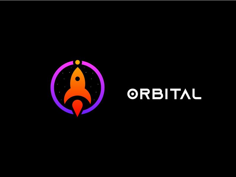 Orbital Logo Design ( O latter  + Rocket Icon ) typography illustration graphic design logo logo inspiration branding brand identity minimalist logo modern logo logo designer logodesign rocket logo o logo