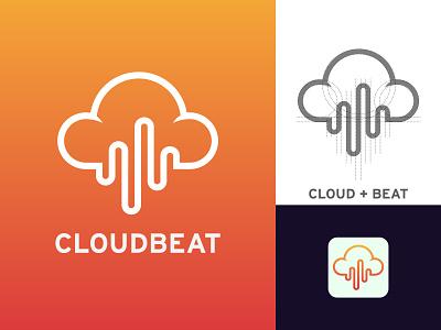 CLOUDBEAT Logo Concept ( Cloud + Sound Beat Icon ). logo minimalist logo app logo modern logo logo inspiration logo designer logo design branding brand identity audio logo soundcloud cloud logo