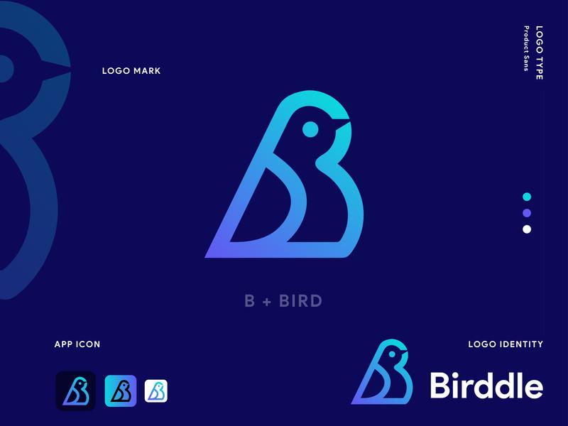 Birddle Logo Design. ( B Letter + Bird Icon) graphic design bird logo dribbble app logo modern logo logo designer logo inspiration logo design brand identity branding b bird logo b logo modern bird bird logo birddle logo