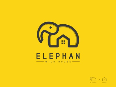 ELEPHAN Logo Design ( Elephant + House ) logo inspiration illustration ui design logo design modern logo branding brand identity elephant house house logo elephant logo animal logo