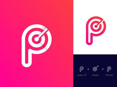 Pointer Logo Design. logo designer ui app minimalist logo logo presentation modern logo graphic design logo branding brand identity point focus target p logo