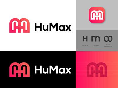 HuMax Logo Design ( Letter H + m + Connect ) designer graphic design icon logo app company logo symbol logotype brand design modern logo brand identity branding social connect monogram logo hm logo m logo h logo
