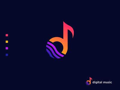Digital music Logo ( Letter 'd' + wave + music ) music digital brand design logotype minimal logo presentation logo inspiration logo logo designer logo design modern logo brand identity branding music app wave logo d logo wave music logo d wave logo d music logo digital music