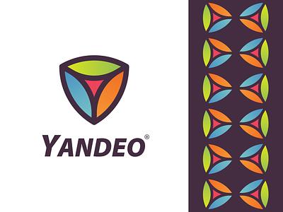 YANDEO Logo ( Y + Shield ) symbol mark icon app logo brandmark logotype illustration animation modern minimal futuristic secure protection brand identity design safety security typography gradient branding shield