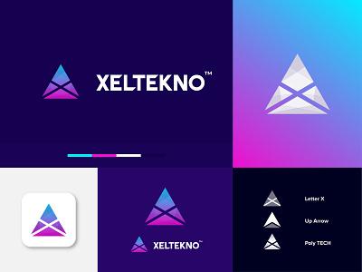 XELTEKNO Logo Design ( X + Arrow + Tech ) gradient minimal icon app logo brand identity branding symbol identity abstract geometric lettermark modern digital future tech arrow x tech logo tech technology startup logo