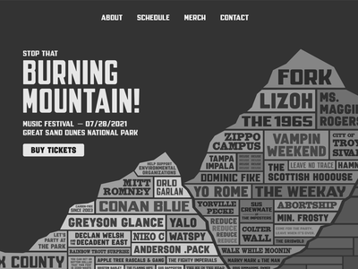 Burning Mountain Music Festival Concept text illustration environmentalism music hero section website web music festival