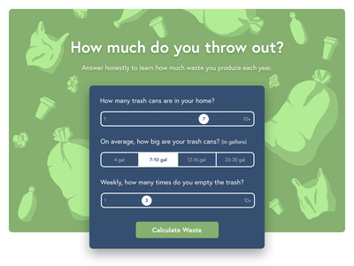 Waste Calculator garbage calculator waste web design illustration form ui