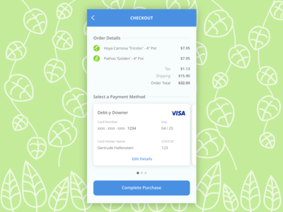 Plant-Based Checkout Form