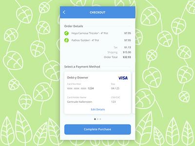 Plant-Based Checkout Form vine leaf plants purchase credit card creditcard checkout vector illustration ui