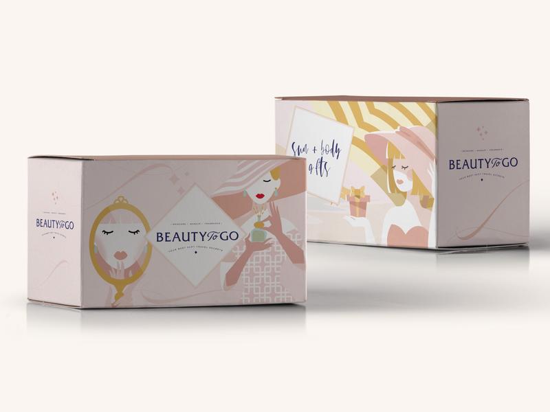 Packaging Design for Beauty To Go logo design website design ui design fragrance cosmetics fashion brand illustrations elegant feminine branding