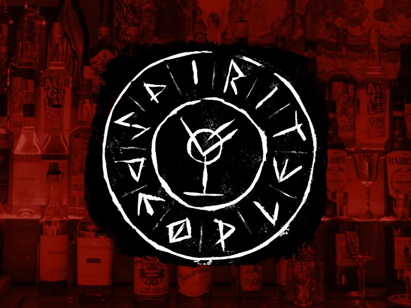 Spirit People: A Rune Sigil mystical runes mystic viking spirits dark mofo cocktails drinks alcohol event bar linoprint print linocut lettering branding typography design logo illustration