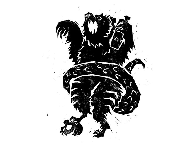 Spirit People: The First Creature Emerges spooky skull bar bear animal print characters design beast demon mythology mystical creature linoprint linocut event alcohol illustration