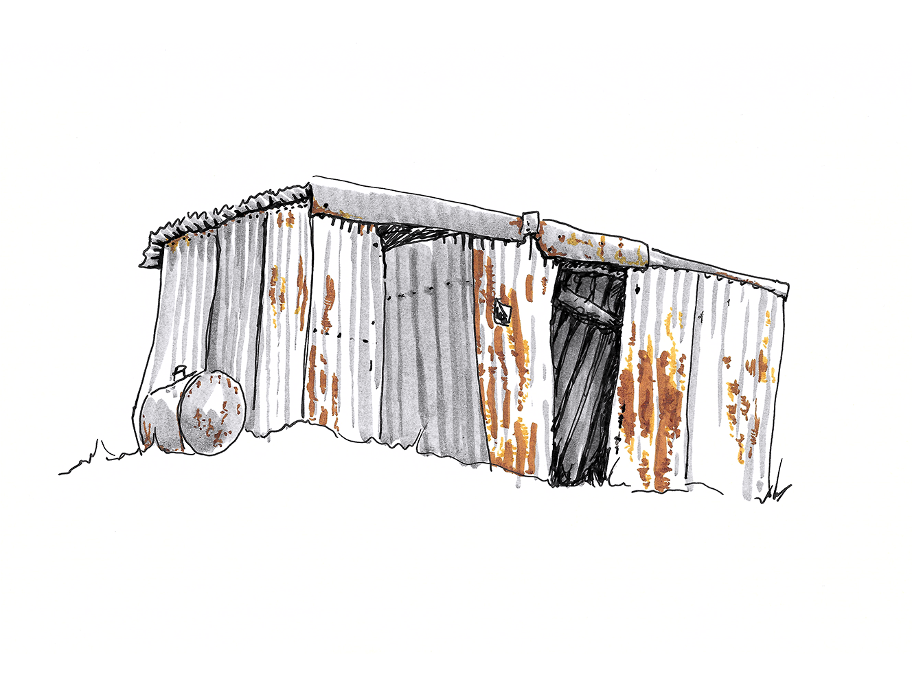 An Empty Tin Shed print artistic artist brush pen tin empty outback bush country shed tin shed architecture design artwork watercolor australia illustrator drawing illustration