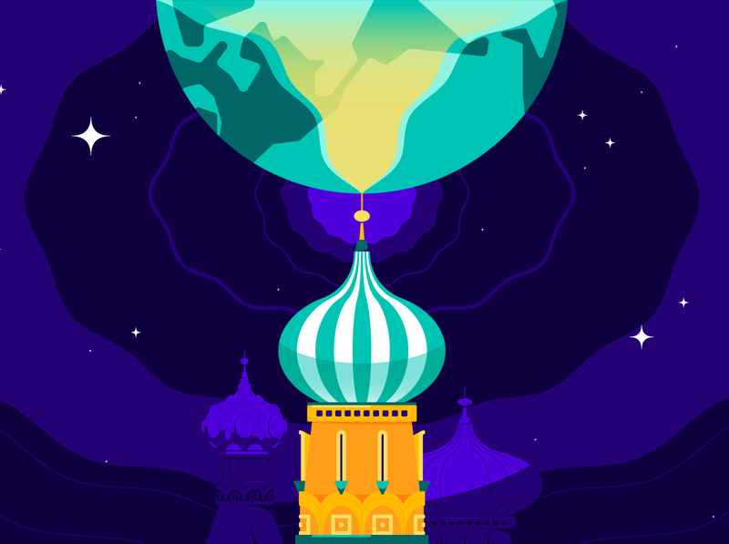 Russian Influence architecture purple yellow teal editorial art russia theskimm branding icon world abstract design flat vector iconographic illustration