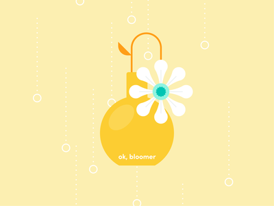 ok, bloomer flower illustration teal yellow plant flower character fun typography icon abstract design flat vector iconographic illustration