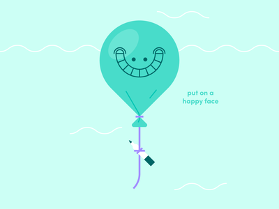 happy face shapes linework sharpie marker balloon teal typography icon logo character world abstract design flat vector iconographic illustration