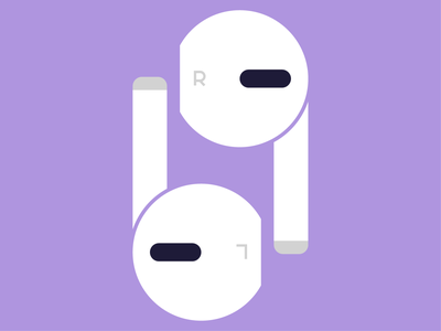 pods gray purple minimal earphones airpods typography fun icon abstract design flat vector iconographic illustration