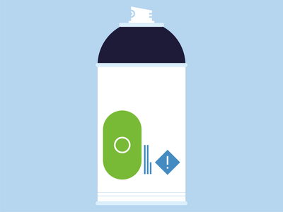 spray+pray grafitti spraycan spraypaint green blue simple shapes logo icon abstract design flat vector iconographic illustration