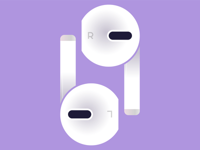 right+left headphones earphones airpods purple abstract icon texture typography design flat vector iconographic illustration